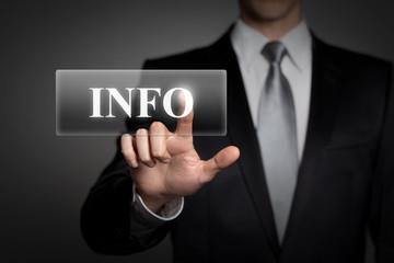 businessman pressing virtual button - INFO
