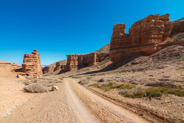 Charyn Canyon near the Almaty city in Kazakhstan