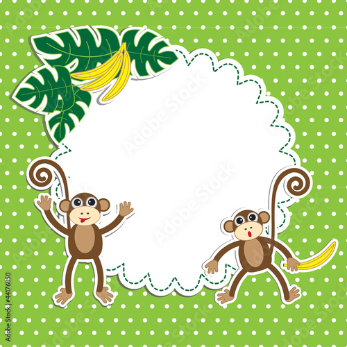 Frame with funny monkeys