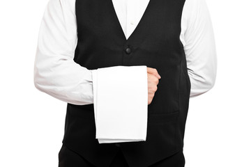 Waiter isolated on white