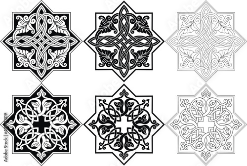 Abstract patterns, rosette with Arabic floral ornament,vector