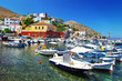 small traditional harbors in greek silands . Hydra