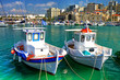 pictorial traditional Greece, boats at Heraklion port