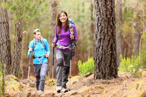 Hikers in forest