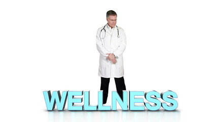 Doctor looking over wellness words