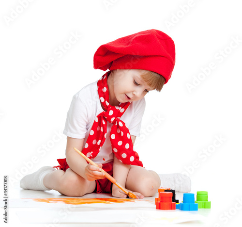 painting child girl isolated on white