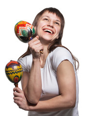 Happy smiling woman with maracas