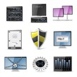 server vector computer icon set