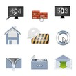 web hosting vector icon set