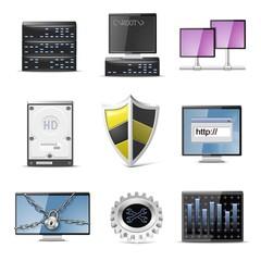 server vector computer icon set