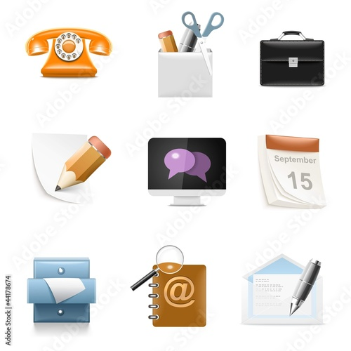 typical office vector icon set