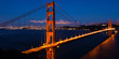 Panoramic view of the Golden Gate bridge by night in San Francis