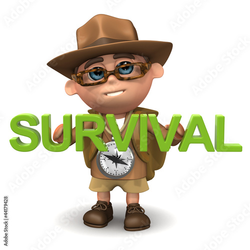 "3d Adventurer with the word ""Survival"""