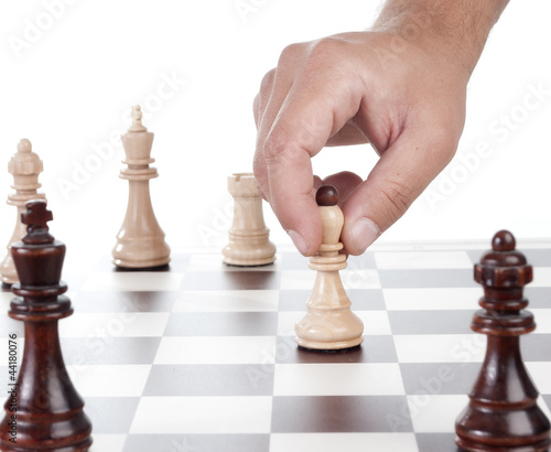 Hand chess move pawn