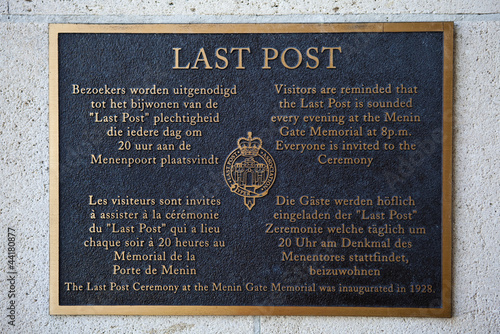 Plaque in the Menin Gate