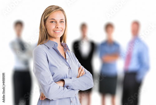Woman in front of a group of people