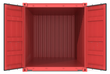 Open Container. Red Cargo Container. Open Doors. Front view.