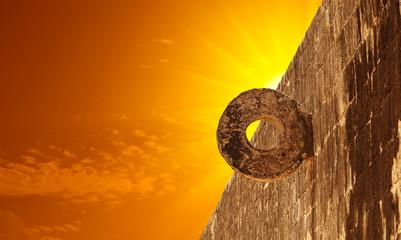 Stone Mayan Hoop in Chichen Itza Site