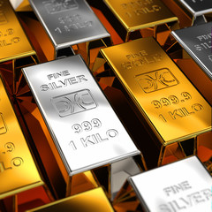 Gold and Silver Bars with shallow depth of field