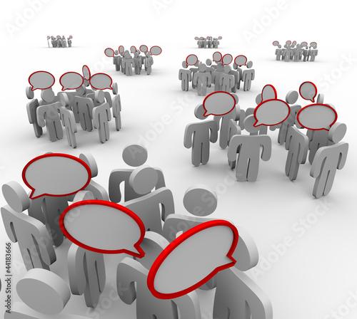 Groups Talking Speech Bubbles Audiences Conversations