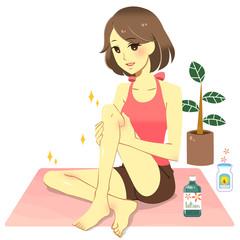 足をマッサージする女性(白背景)
