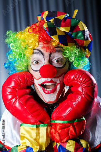 Clown with boxing gloves