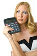 Woman accountant with calculator on white