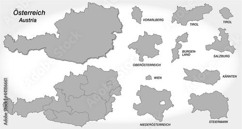 Österreich und Kantone in grau