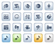 Audio video icons on buttons. Color series.