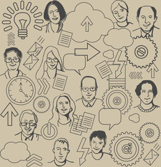 Seamless business pattern with people and icons