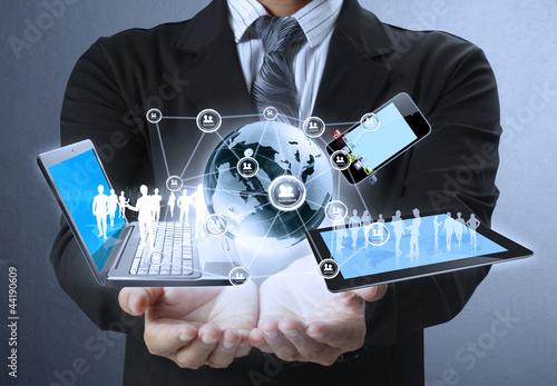 Leinwanddruck Bild Technology in the hands