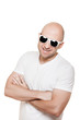 Smiling bald head man in sunglasses