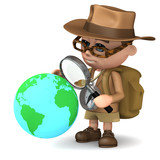 3d Adventurer studies the globe with a magnifier