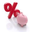 Sparschwein mit Prozent-Zeichen