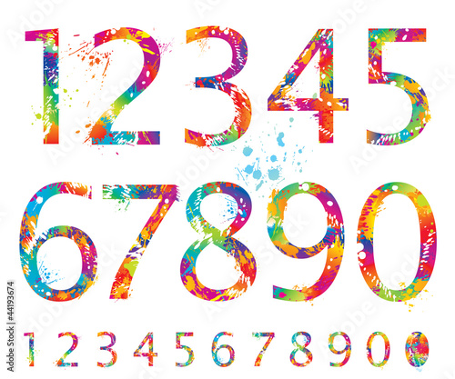 Font - Colorful numbers with drops and splashes from 0 to 9