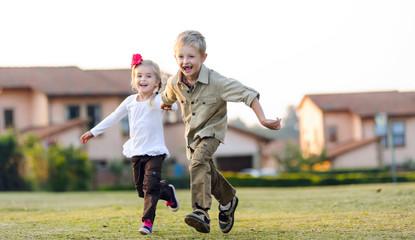 playful childhood siblings