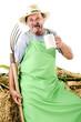 organic farmer with a pitchfork and a beer mug