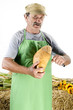 organic farmer with home baked bread