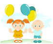 Happy kids with toy balloons