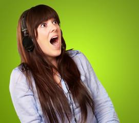 Surprised Woman Wearing Headphone