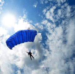 Skydiver in the sky, parachute jump