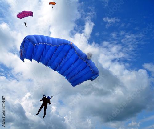 Leinwandbild Motiv Skydivers in the sky