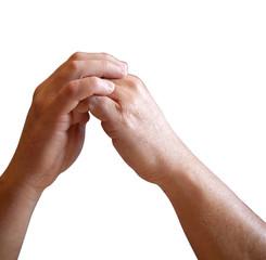 mains jointes réflexion
