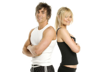 Man and woman standing back to back on white background