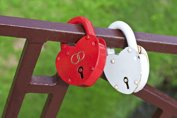 Two locks in the form of hearts