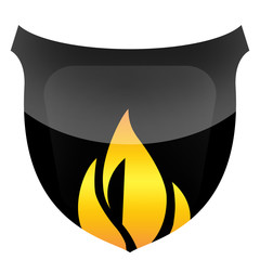 Black protective shield in flames