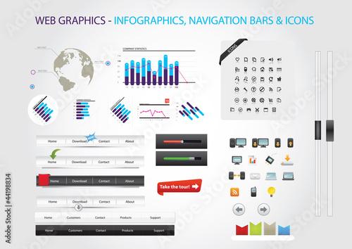 Web graphics -infographics, navigation bars & icons