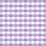 Seamless Gingham, Hearts, pastel lavender EPS has pattern swatch