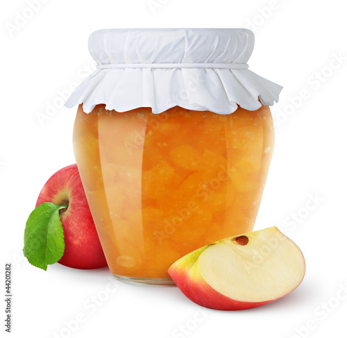 Apple jam isolated on white