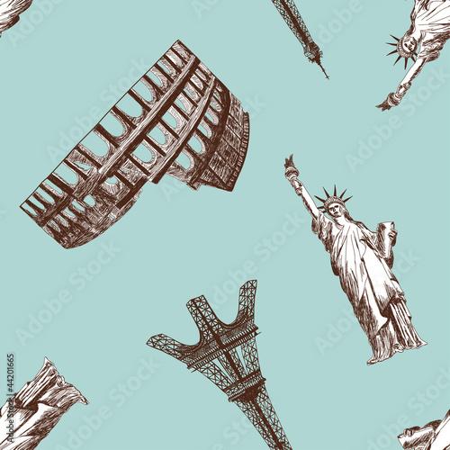 Seamless landmark pattern - 44201665